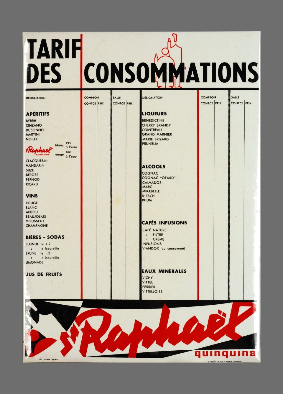 St Raphael, Tarif des Consommations – Vintage poster – Charles LOUPOT – 1955