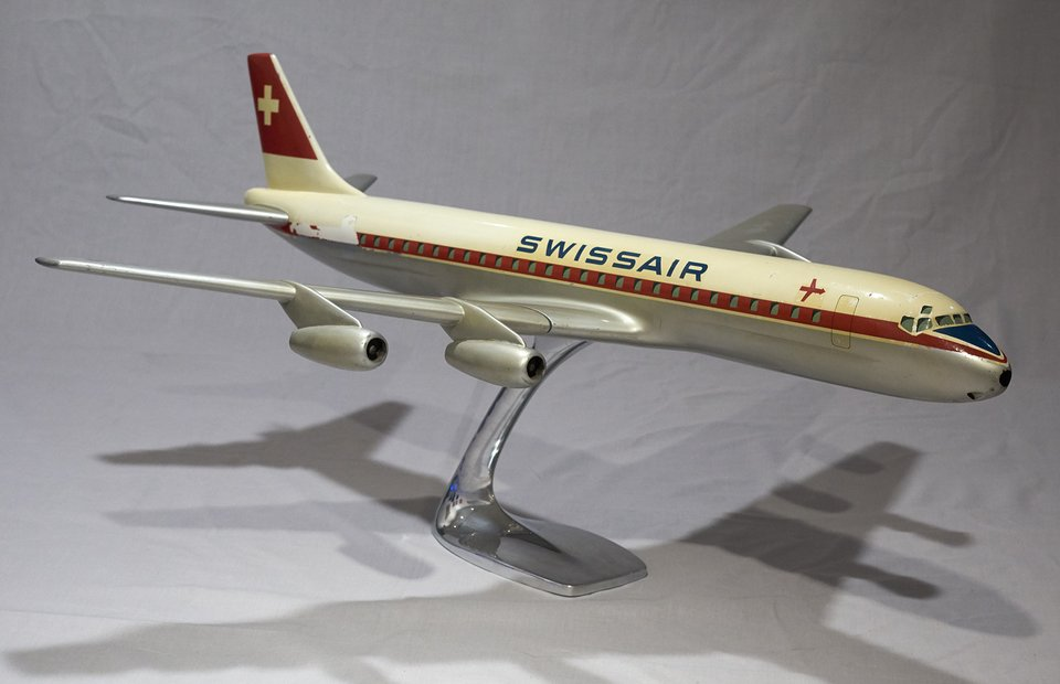 Swissair DC-8-32 HB-IDA – Affiche ancienne – RAISE-UP – 1960