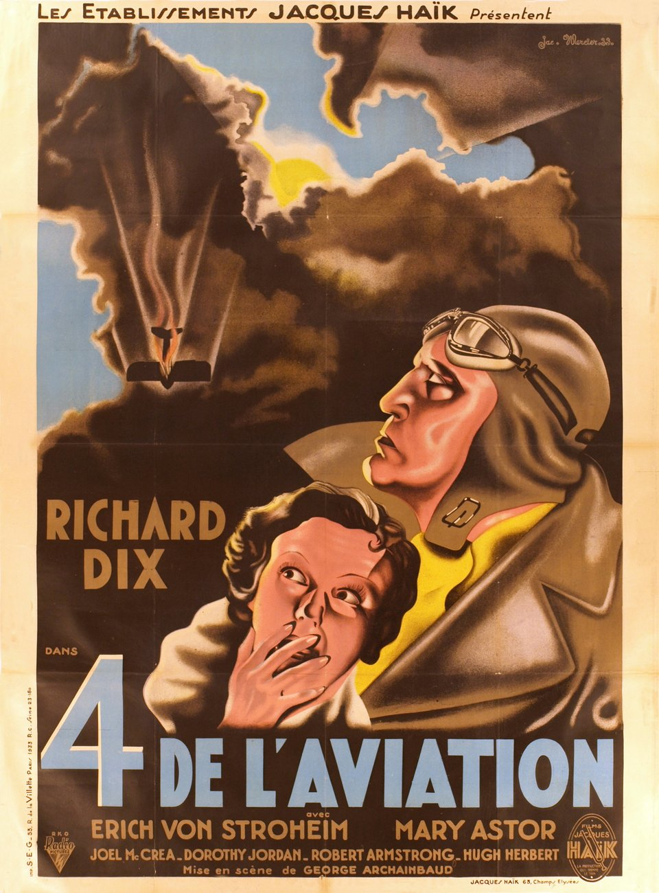 4 de l'Aviation, Richard Dix, avec Erich von Strohëim et Mary Astor – Vintage poster – Jean-Adrien MERCIER – 1932