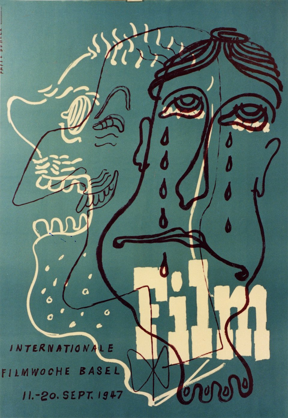 Film, Internationale Filmwoche Basel – Affiche ancienne – Fritz BUHLER – 1947