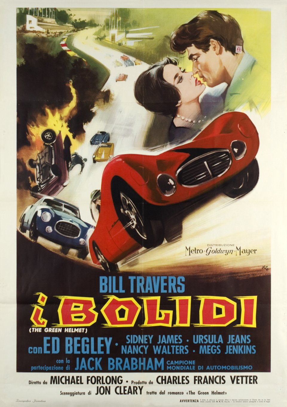 """I Bolidi"" (the green helmet), movie with Bill Travers – Affiche ancienne – ANONYMOUS – 1961"