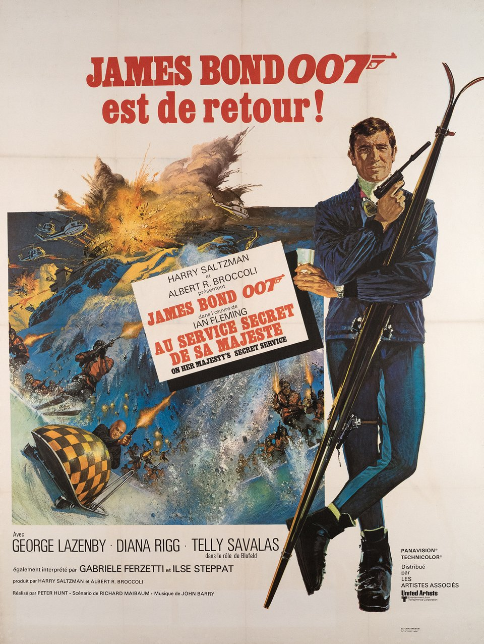 James Bond 007, Au Service Secret de sa Majesté – Vintage poster – Yves THOS – 1969