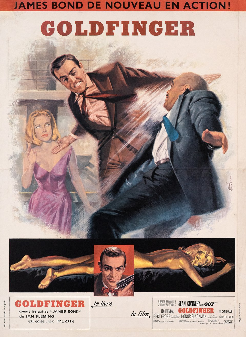 James Bond 007, Goldfinger – Vintage poster – Jean MASCII – 1965