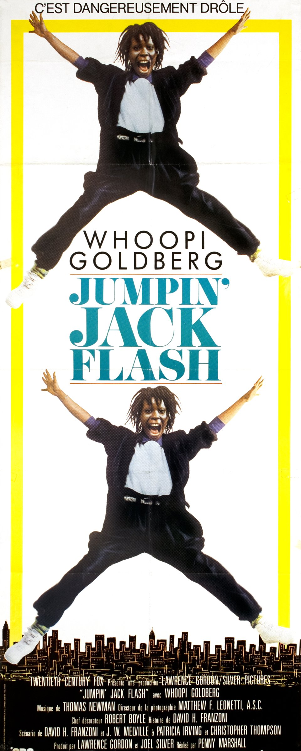 """Jumpin' Jack Flash, dangereusement drôle!"", movie with Woopi Goldberg – Affiche ancienne –  ANONYME – 1986"