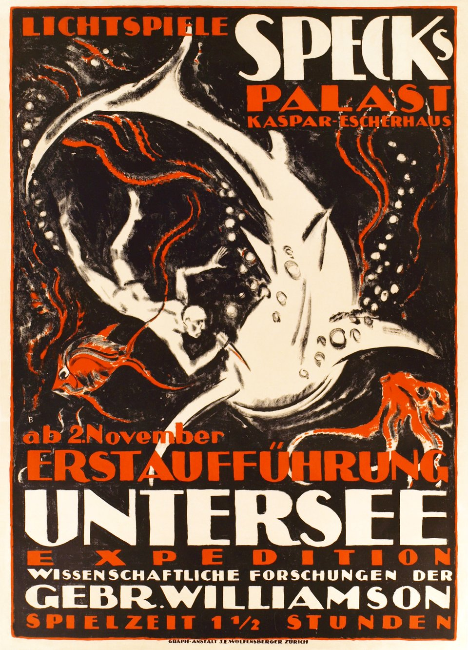 Lichtspiele speck's Palast, Untersee expedition – Vintage poster – Otto BAUMBERGER – 1916