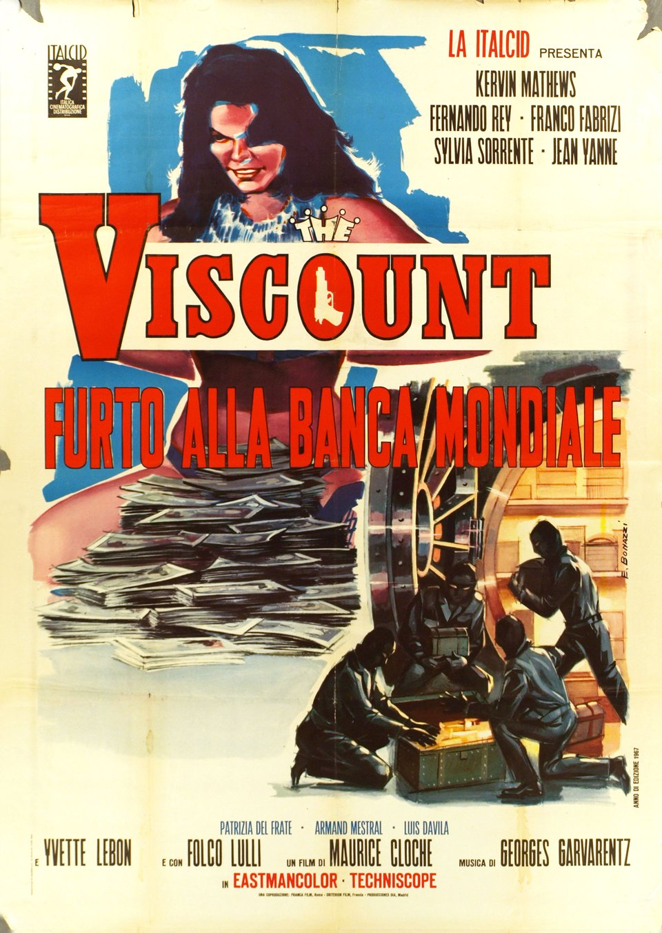The Viscount, Furto alla banca mondiale – Affiche ancienne – E. BONAZZI – 1967