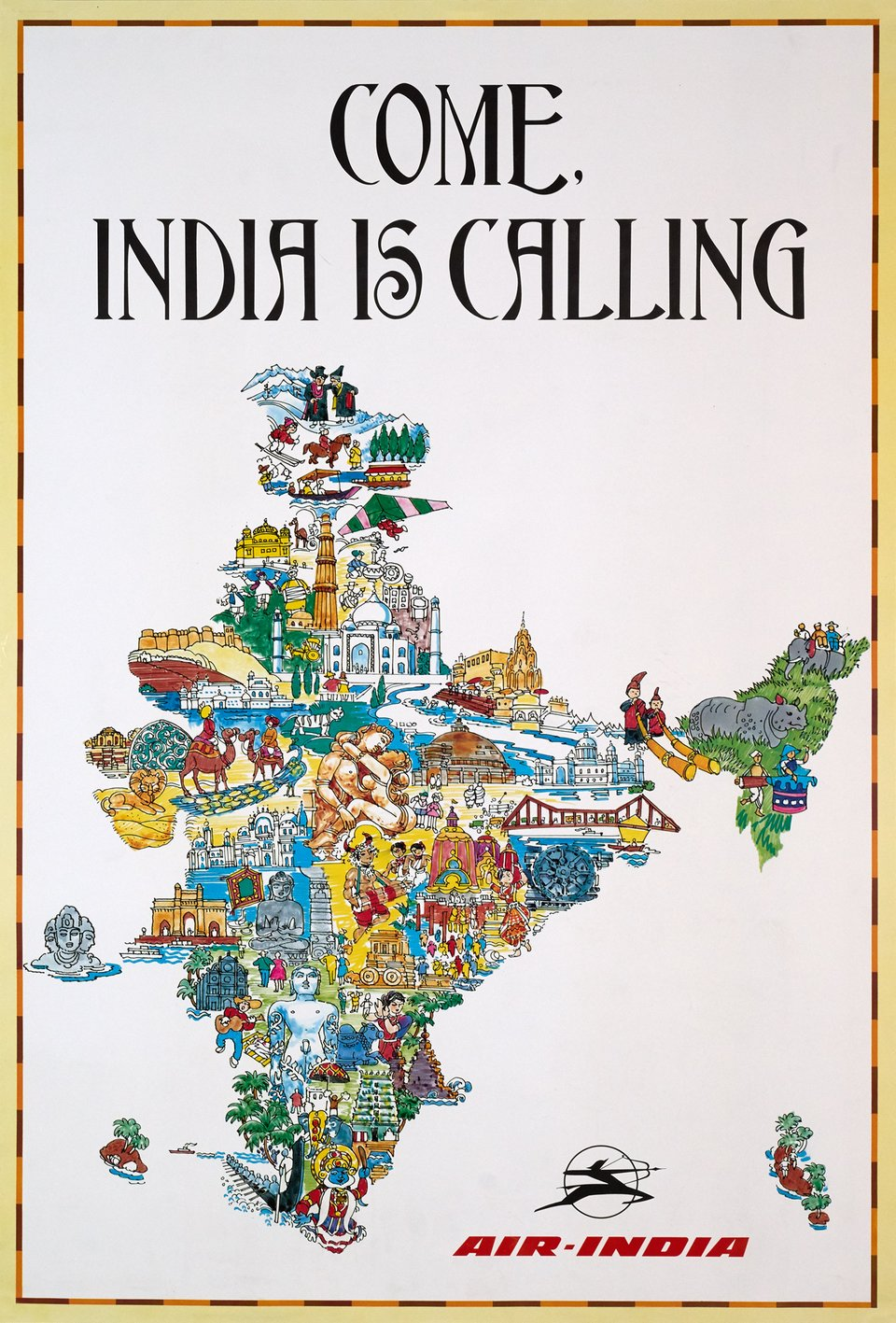 Air-India, Come, India is Calling – Vintage poster –  ANONYME – 1985