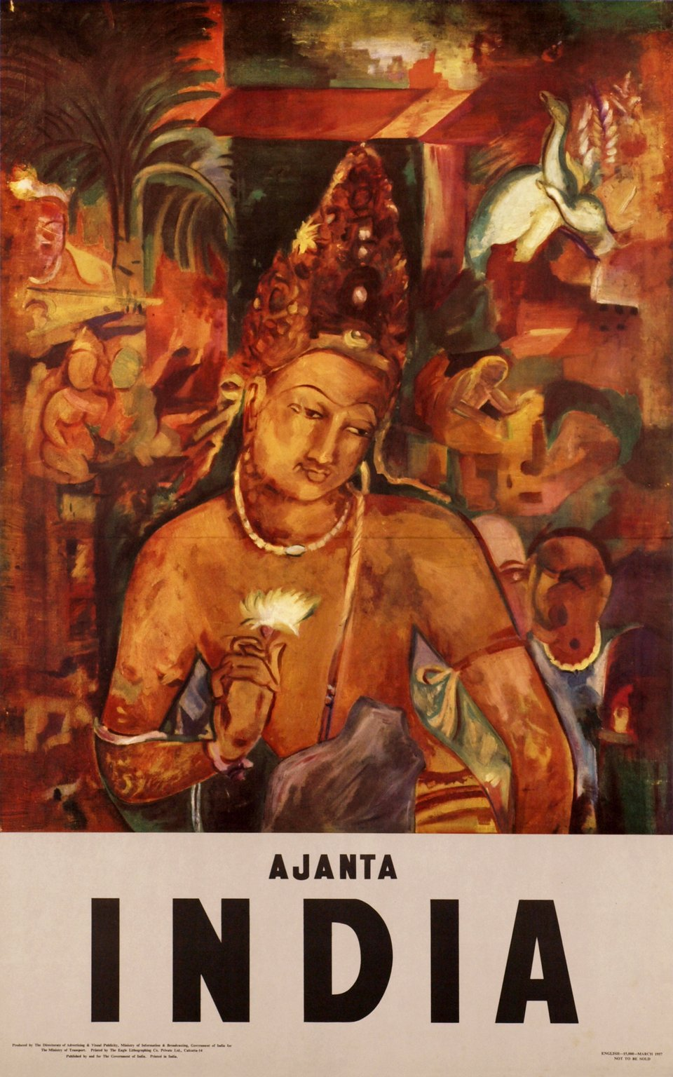 Ajanta India – Affiche ancienne –  ANONYME – 1957