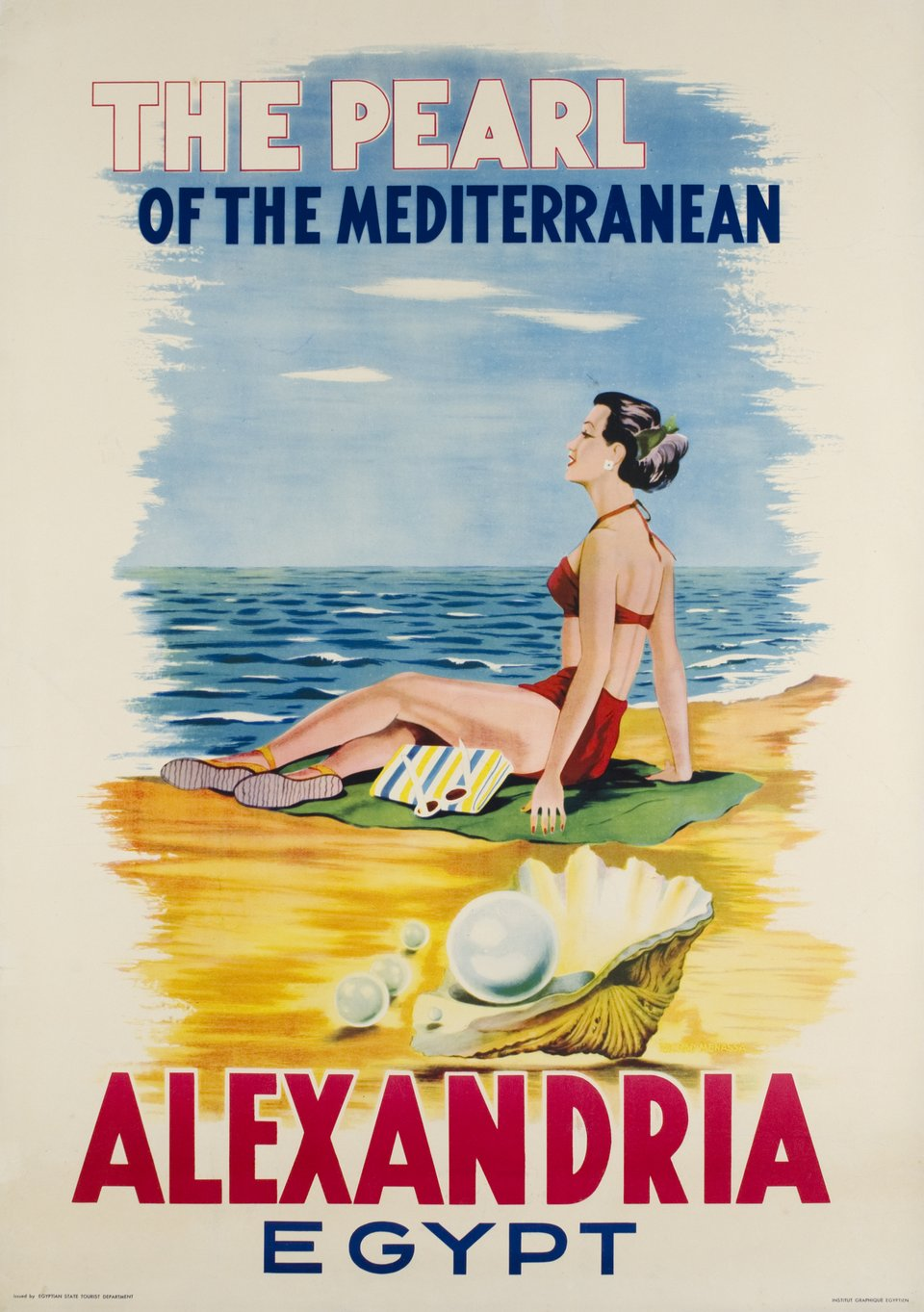 Alexandria, Egypt, the pearl of Mediterranean – Affiche ancienne –  ANONYME – 1960