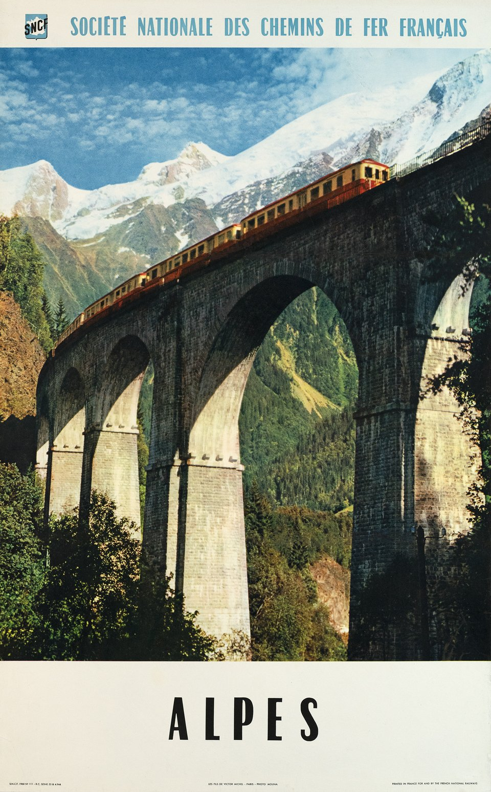 Alpes, SNCF – Affiche ancienne – MOLINA – 1960