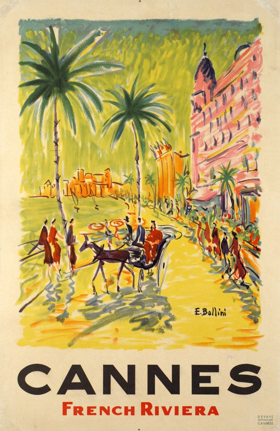 Cannes, French Riviera – Affiche ancienne – BOLLINI – 1958