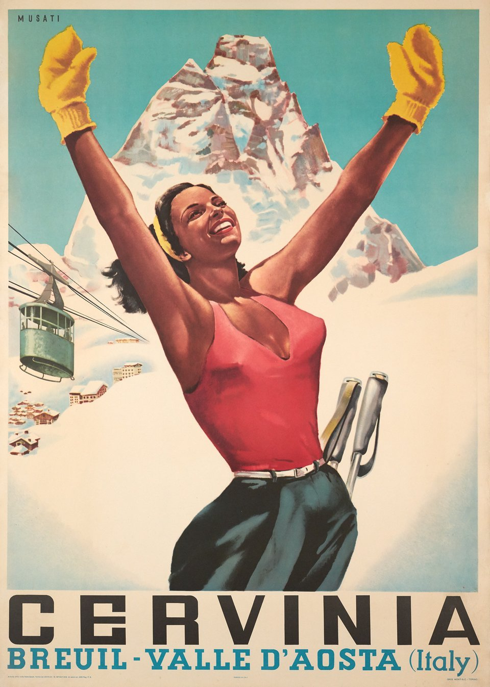 Cervinia, Breuil - Valle d'Aosta (Italy) – Affiche ancienne –  MUSATI – 1953
