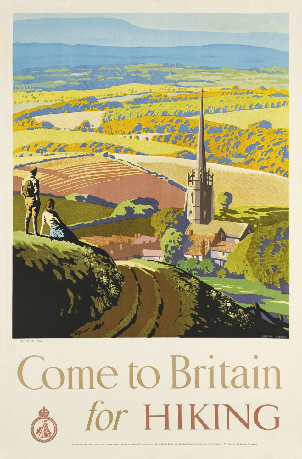Come to Britain for hiking – Affiche ancienne – Brian COOK – 1948