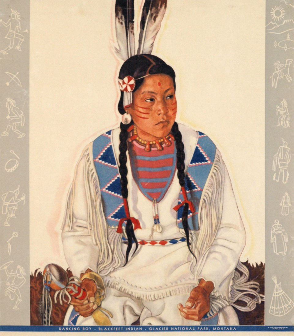 Danseuse Indienne, Blackfeet, Montana. – Affiche ancienne – Winold REISS – 1946