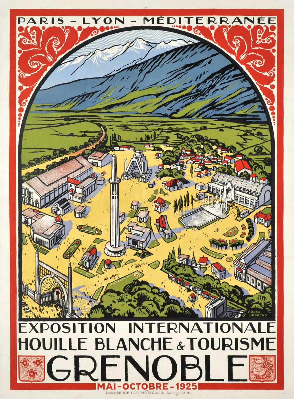 Exposition internationale, Houille Blanche & tourime, Grenoble 1925 – Vintage poster – Roger BRODERS – 1925