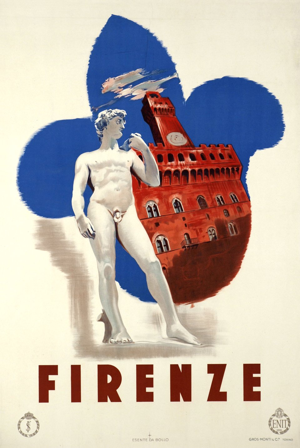 Firenze – Affiche ancienne – ANONYMOUS – 1950