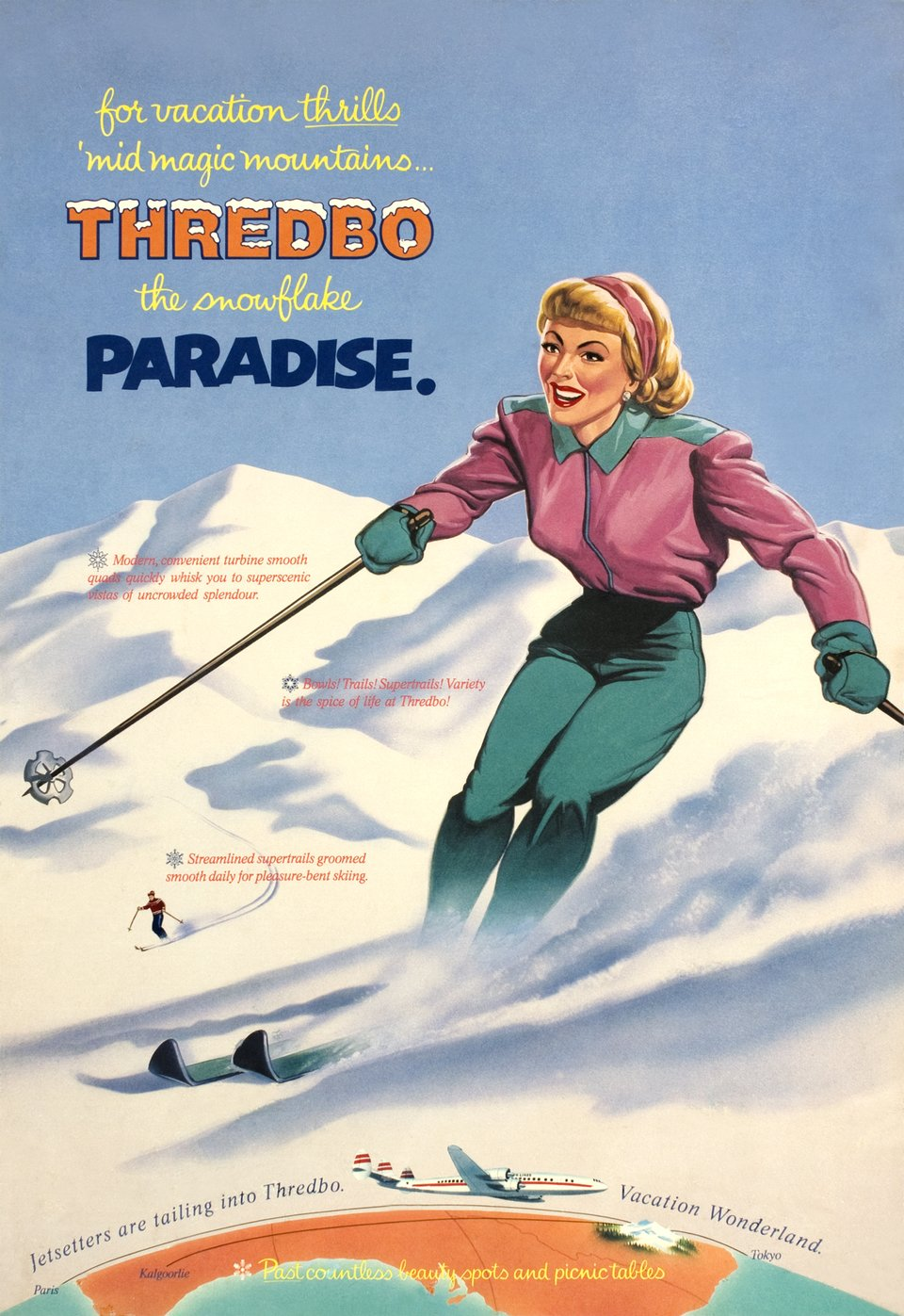 For vacation thrills 'mid magic mountains Thredbo for the snowflake Paradise – Affiche ancienne –  ANONYME – 1952