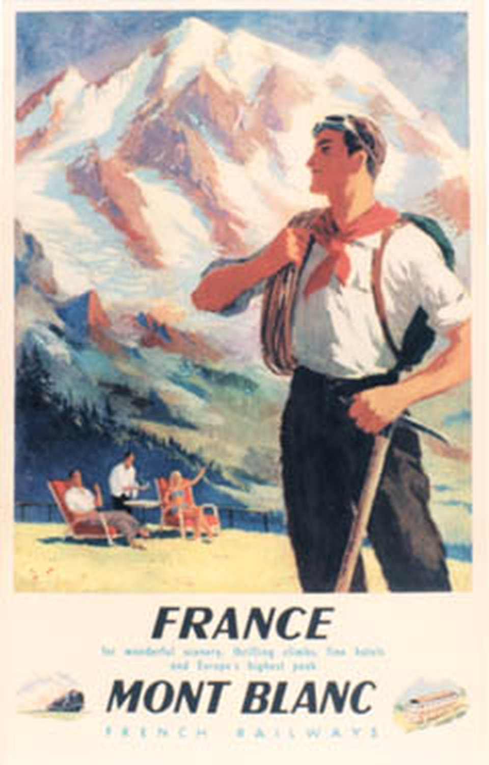 France, Mont-Blanc, French railways – Vintage poster – Pub Yves Alexandre – 1948