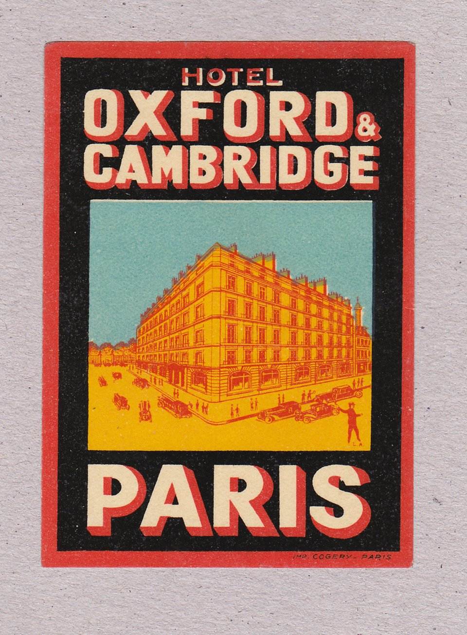 Hotel Oxford & Cambridge – Affiche ancienne – ANONYME – 1920
