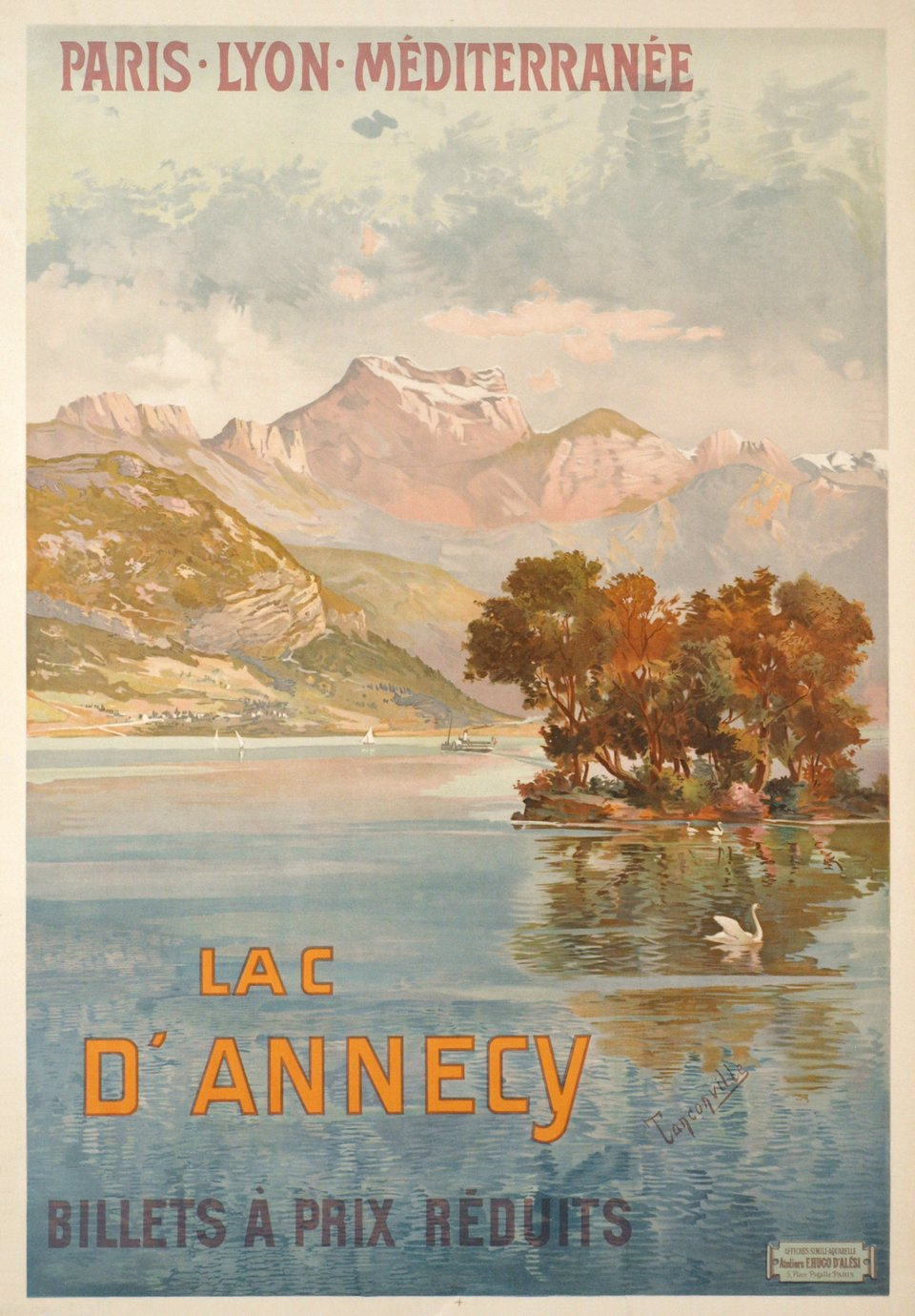 POSTER LE LAC D/'ANNECY LAKE ANNECY BOAT TOUR FRANCE TRAVEL VINTAGE REPRO FREE SH