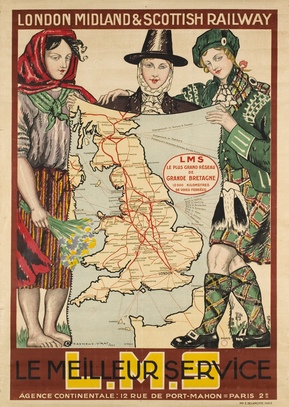 London Midland & Scottish Railway L.M.S. le meilleur service – Affiche ancienne – Raymond VIRAC – 1925
