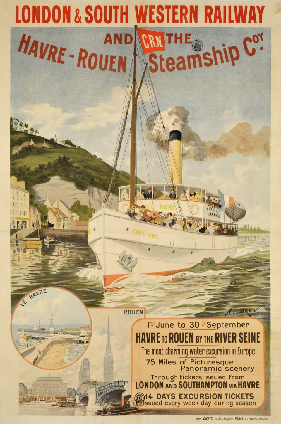 London & South Western Railway and the Havre-Rouen Steamship Coy – Affiche ancienne – Abel BRUN – 1900