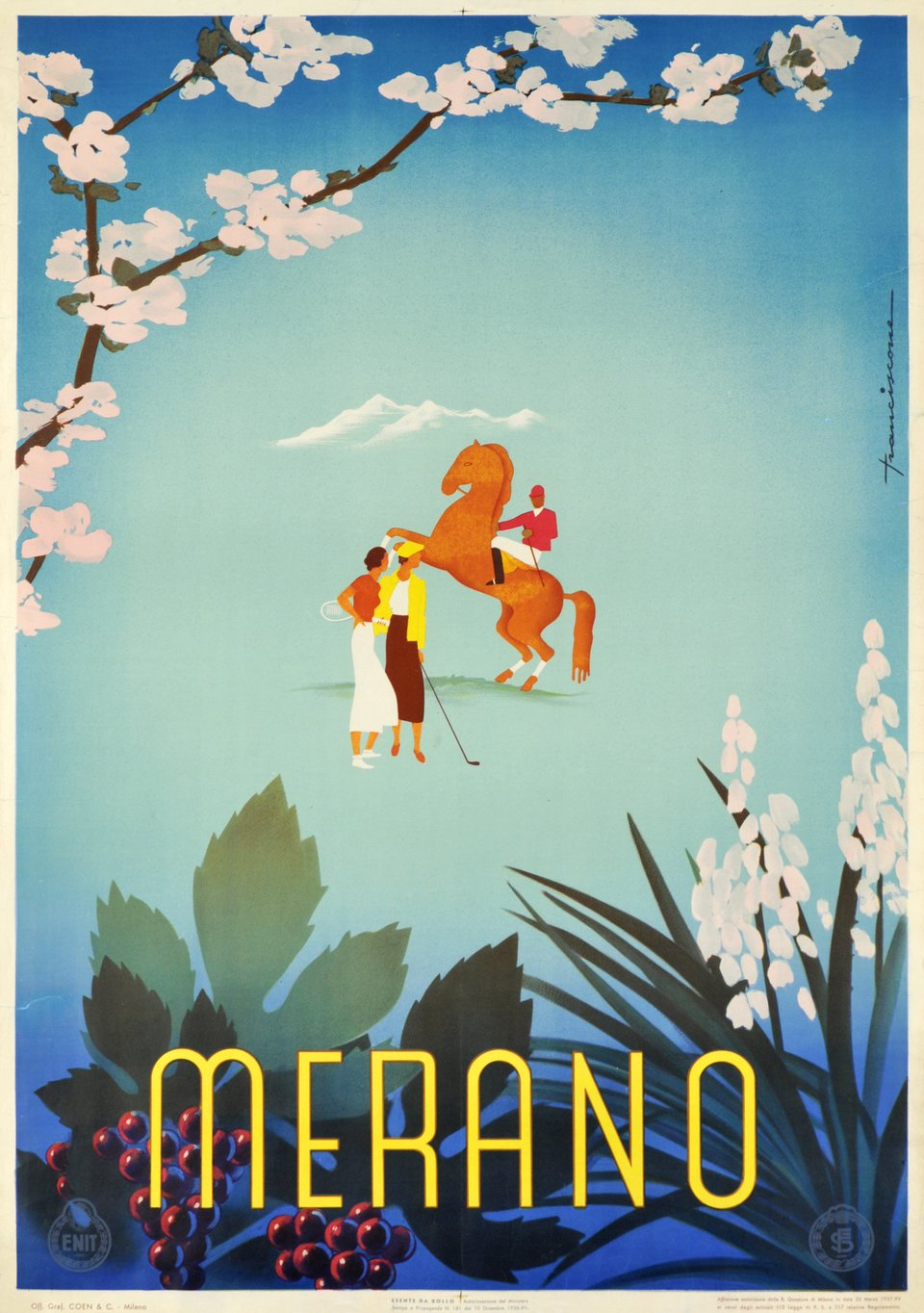 Merano – Affiche ancienne – Sergio FRANCISCONE – 1936