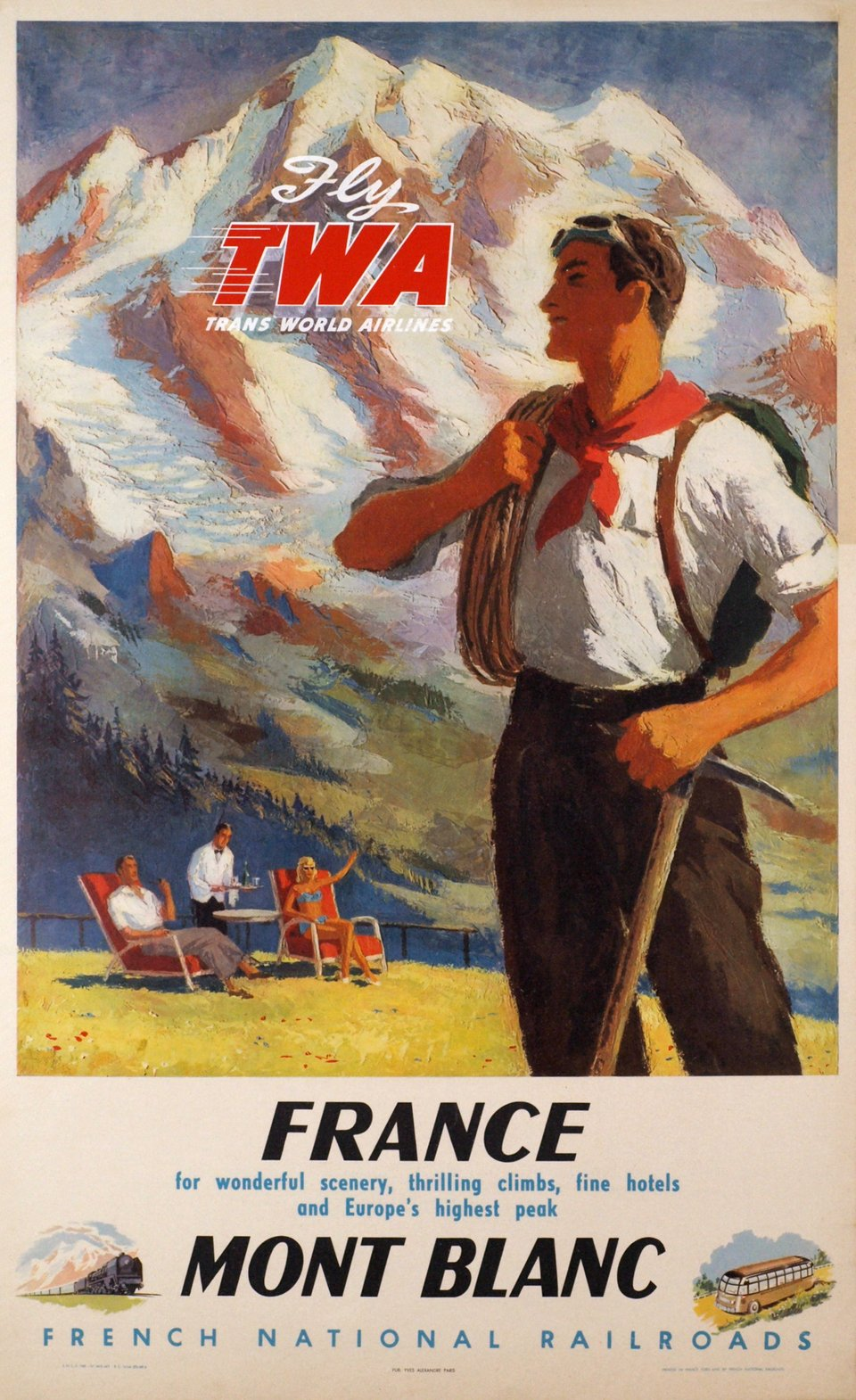 Mont-Blanc, TWA, Fly TWA, France – Vintage poster – Yves ALEXANDRE – 1948
