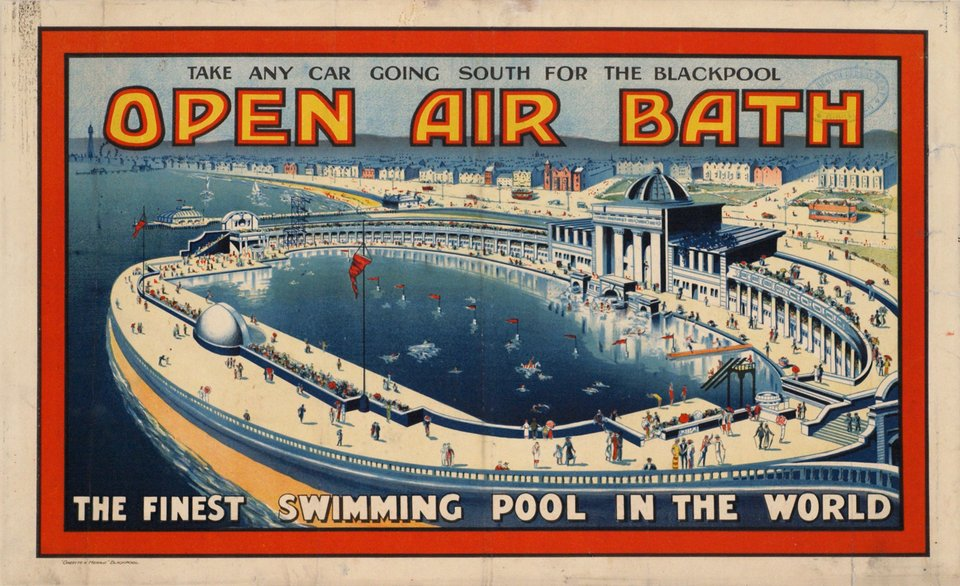 Vintage poster – Open Air Bath, Blackpool, the finest ...
