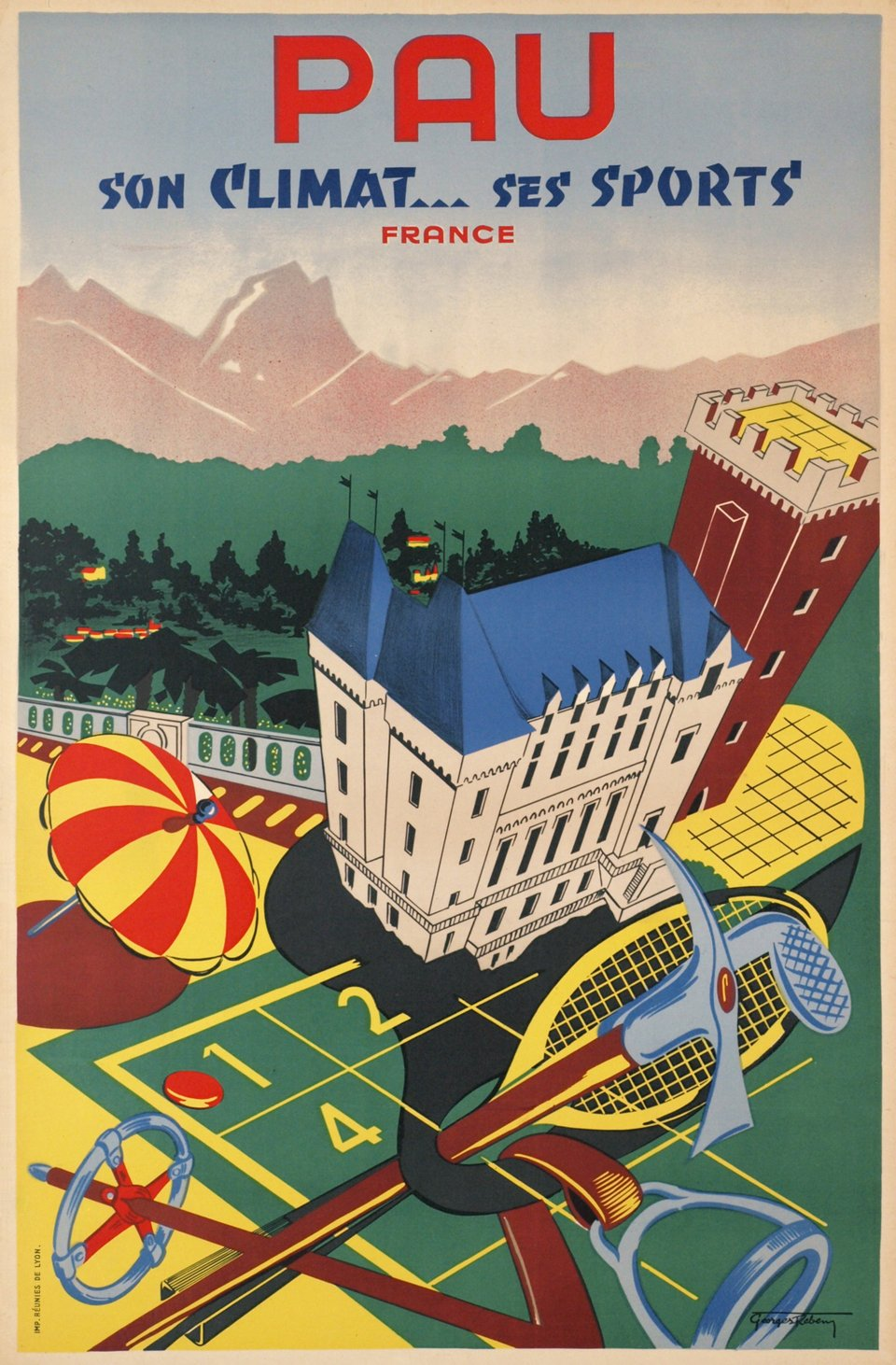 Pau, son climat...ses sports, France – Vintage poster – Georges REBEN – 1935