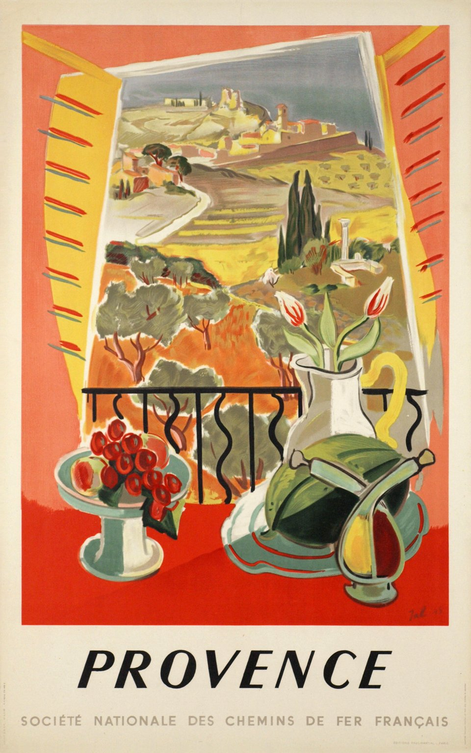 Provence, SNCF – Affiche ancienne – JAL – 1945