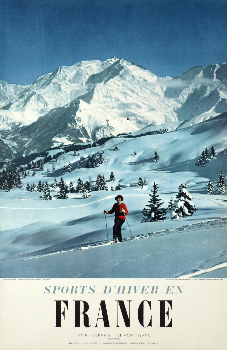 Sports d'hiver en France, Saint-Gervais, le Mont-Blanc – Affiche ancienne – Karl MACHATSCHEK – 1956