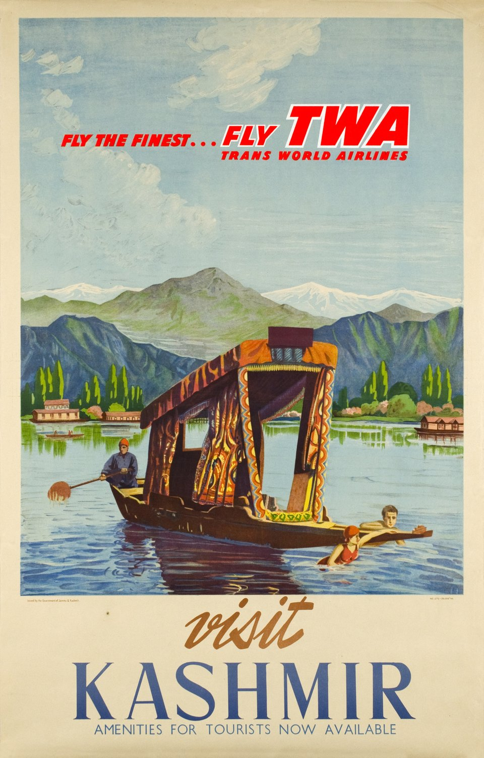 TWA, Visit Kashmir, Fly the finest, Fly TWA – Affiche ancienne –  ANONYME – 1950