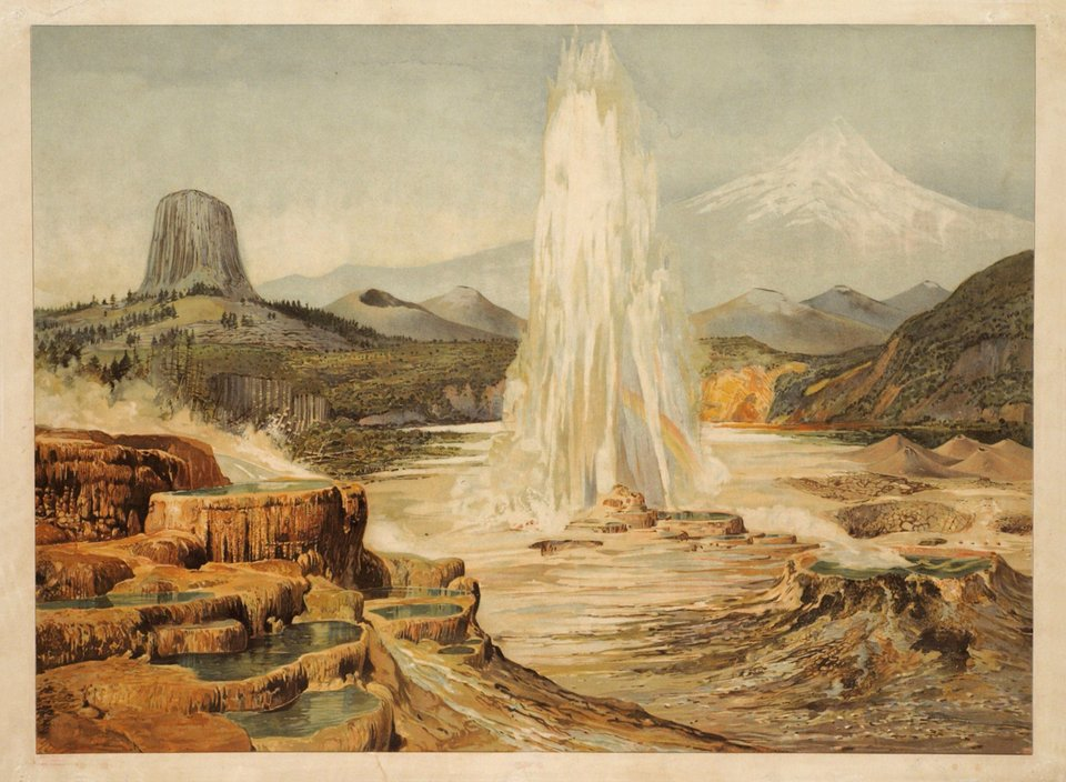 Yellowstone, old faithful geyser. – Vintage poster – ANONYME – 1910